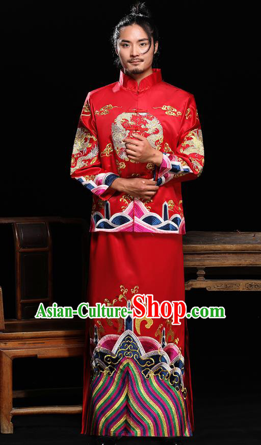 Ancient Chinese Wedding Costumes Traditional Bridegroom Embroidered Tang Suit for Men