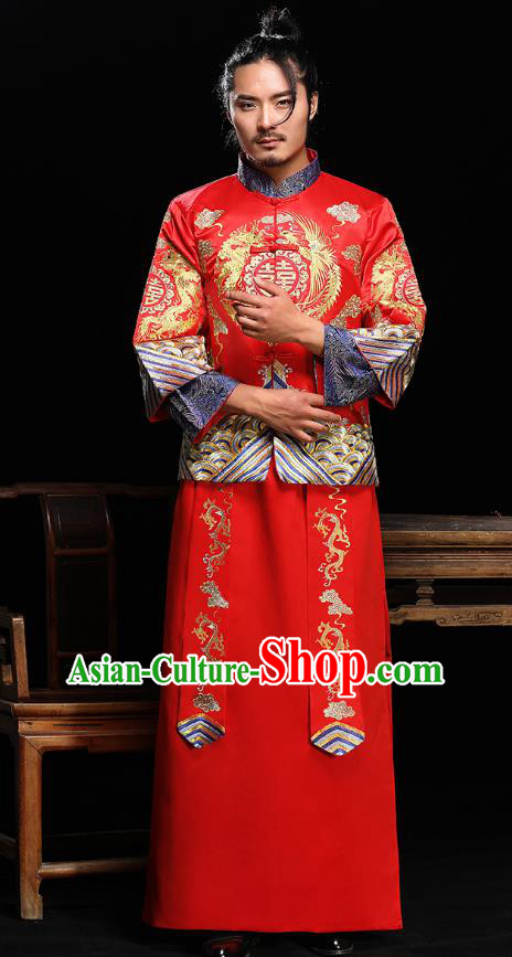 Ancient Chinese Wedding Toast Costumes Traditional Bridegroom Embroidered Tang Suit for Men