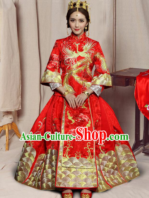 Traditional Chinese Embroidered XiuHe Suit Wedding Costumes Ancient Bottom Drawer for Bride