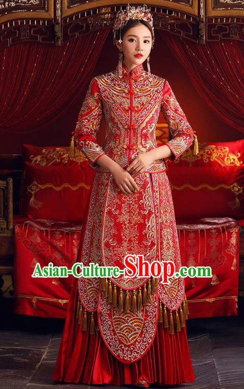 Chinese Ancient Bride Formal Dresses Embroidered Crystal Cheongsam XiuHe Suit Traditional Wedding Costumes for Women