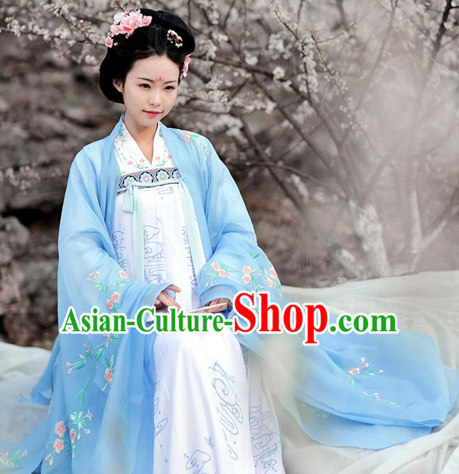 Ancient Chinese Tang Dynasty Imperial Consort Costumes Embroidered Hanfu Dress for Palace Women