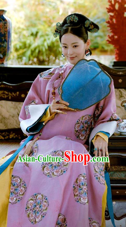 Chinese Ancient Drama Story of Yanxi Palace Manchu Lady Costume Qing Dynasty Imperial Consort Embroidered Clothing for Women