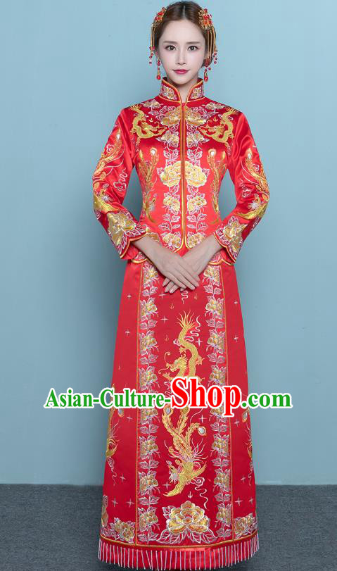 Chinese Ancient Wedding Costumes Bride Red Formal Dresses Embroidered Toast Qipao XiuHe Suit for Women