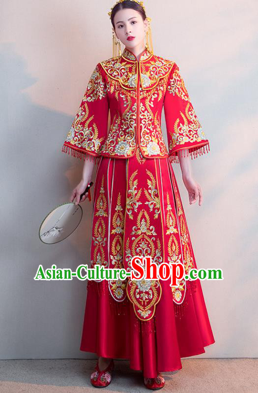 Chinese Ancient Wedding Costumes Bride Formal Dresses Embroidered Red Longfenggua XiuHe Suit for Women