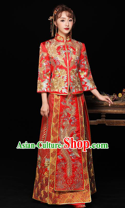 Chinese Ancient Bride Formal Dresses Wedding Costume Embroidered Phoenix Trailing Cheongsam Red XiuHe Suit for Women