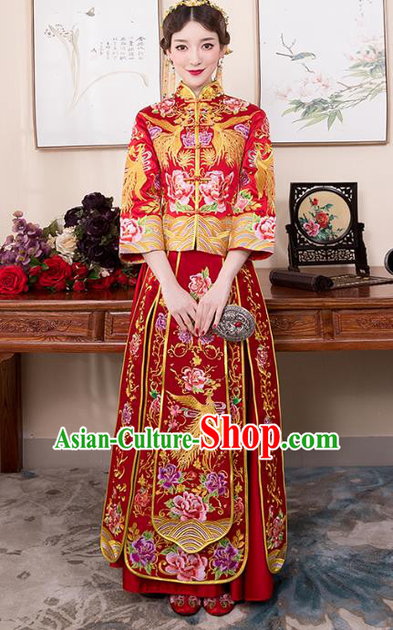 Chinese Ancient Bride Red Formal Dresses Wedding Costume Embroidered Phoenix Cheongsam XiuHe Suit for Women