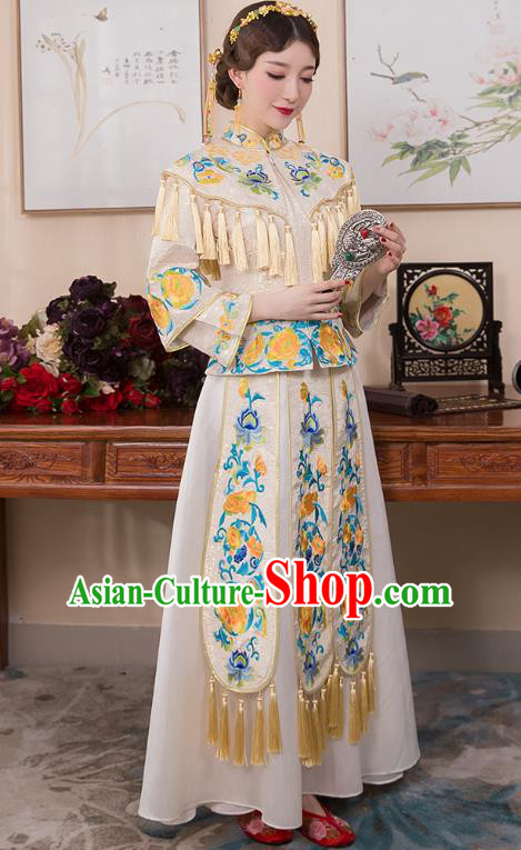 Chinese Ancient Bride White Formal Dresses Wedding Costume Embroidered Peony Cheongsam XiuHe Suit for Women