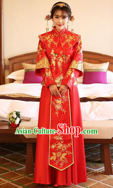 Chinese Ancient Bride Formal Dresses Wedding Costume Embroidered Red Longfenggua XiuHe Suit for Women
