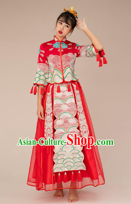 Chinese Ancient Bride Veil Formal Dresses Xiuhe Suit Embroidered Red Cheongsam Wedding Costume for Women
