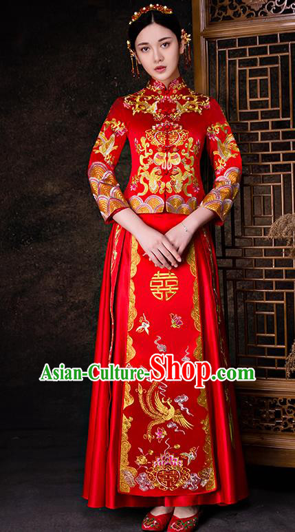 Chinese Traditional Wedding Dress Red XiuHe Suit Ancient Bride Embroidered Phoenix Cheongsam for Women
