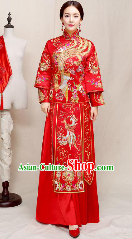 Chinese Traditional Wedding Dress Embroidered Red XiuHe Suit Ancient Bride Cheongsam for Women