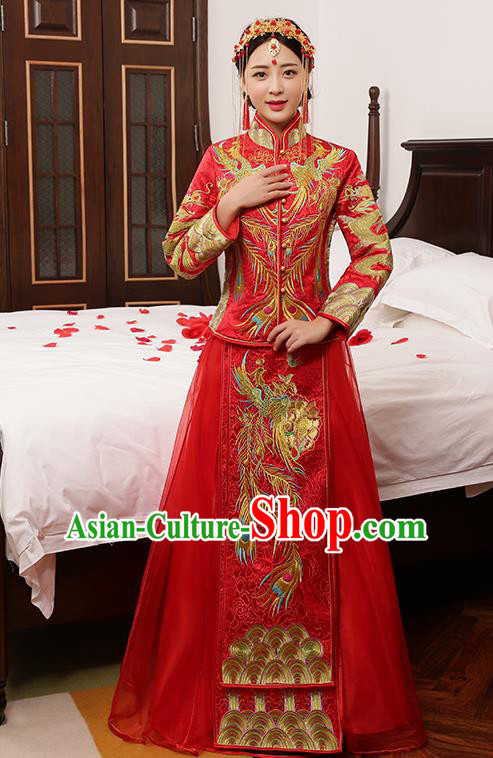 Chinese Traditional Embroidered Phoenix Wedding Dress XiuHe Suit Ancient Bride Cheongsam for Women
