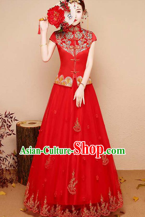 Chinese Traditional Wedding Costume XiuHe Suit Ancient Bride Embroidered Red Toast Formal Dress for Women