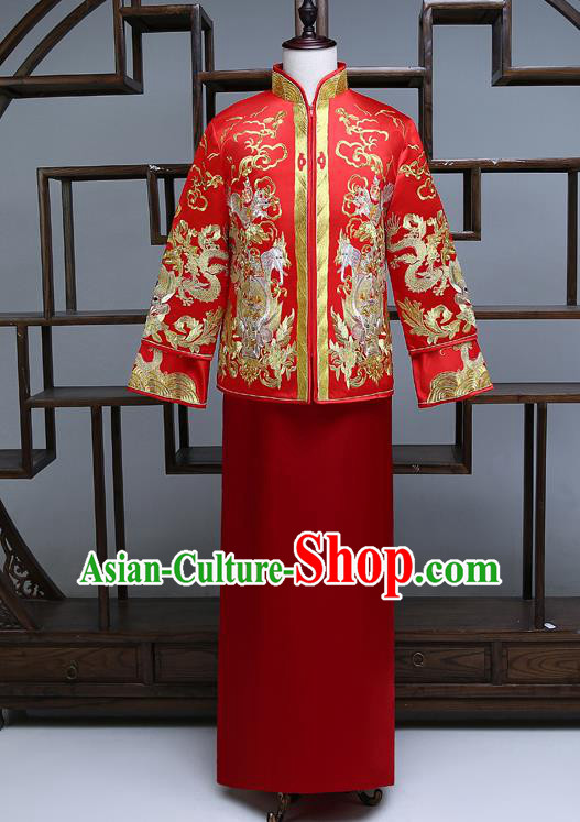 Ancient Chinese Male Wedding Toast Costumes Traditional Bridegroom Embroidered Tang Suit Red Long Robe for Men