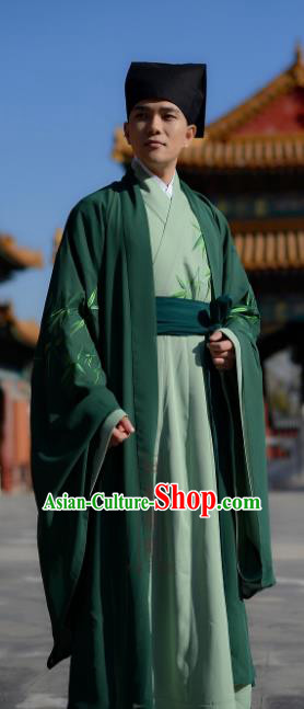 Chinese Ancient Han Dynasty Scholar Costume Embroidered Green Robe for Men