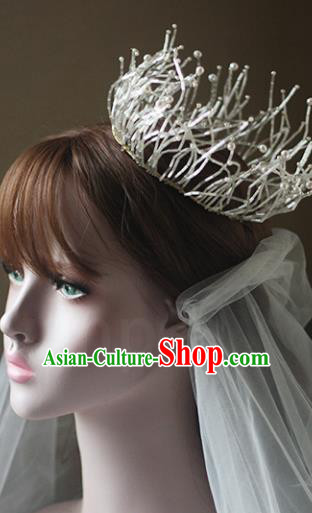 Top Grade Wedding Hair Accessories Bride Pearls Round Royal Crown for Women