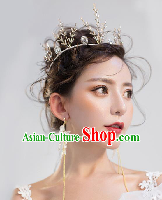 Top Grade Wedding Hair Accessories Hair Clasp Bride Golden Crystal Royal Crown for Women