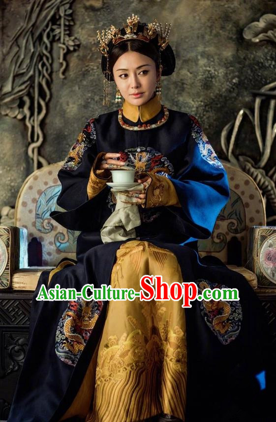 Ancient Drama Story of Yanxi Palace Chinese Qing Dynasty Empress Fucha Costumes and Headpiece Complete Set