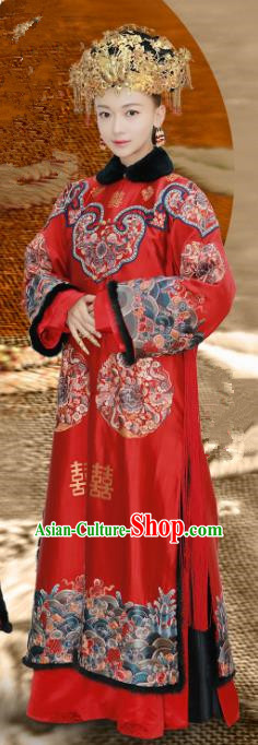 Chinese Ancient Drama Story of Yanxi Palace Qing Dynasty Imperial Consort Ling Wedding Costumes and Headpiece Complete Set