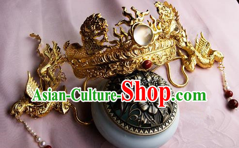 Chinese Traditional Hair Accessories Ancient Empress Golden Phoenix Coronet Hairpins for Women