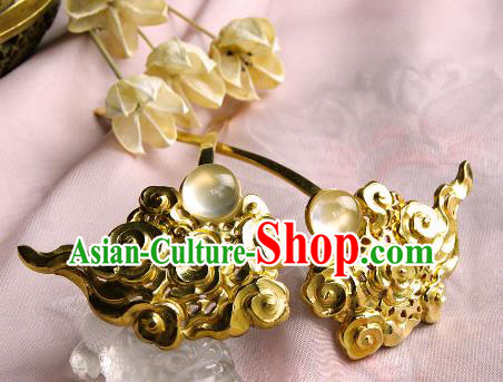 Chinese Traditional Hair Accessories Ancient Empress Golden Cloud Hairpins for Women