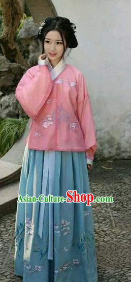 Chinese Ming Dynasty Nobility Lady Costume Ancient Princess Embroidered Hanfu Dress for Women
