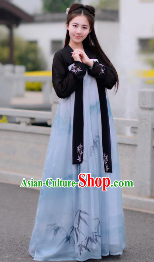 Chinese Tang Dynasty Young Lady Costume Ancient Printing Bamboo Hanfu Dress for Women