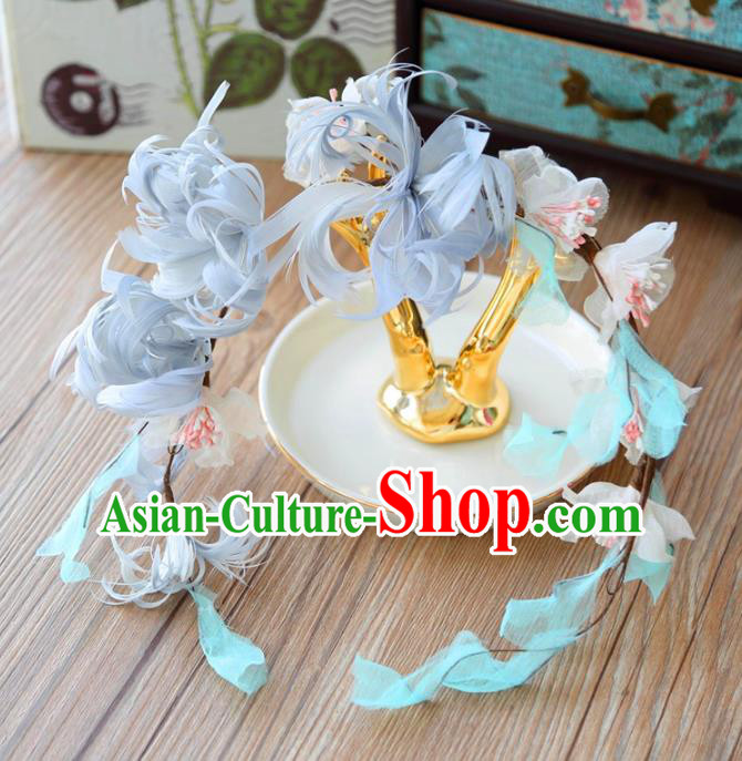 Top Grade Wedding Bride Hair Accessories Princess Blue Feather Hair Clasp Headwear for Women