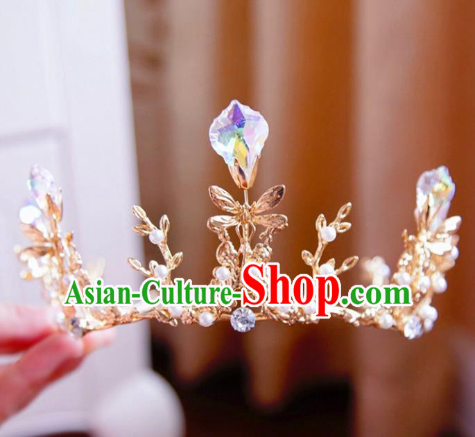 Top Grade Wedding Bride Hair Accessories Princess Hair Clasp Golden Dragonfly Royal Crown for Women