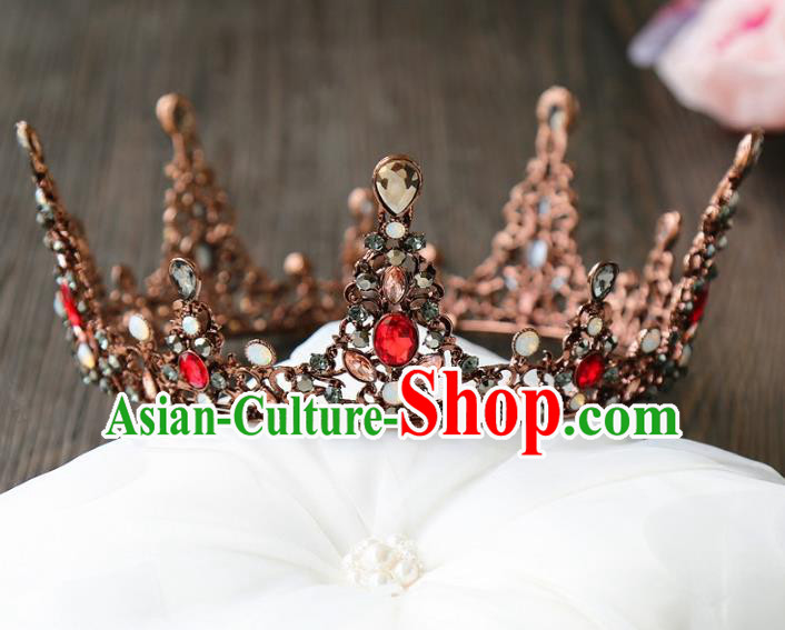 Top Grade Wedding Bride Hair Accessories Princess Hair Clasp Black Round Royal Crown for Women