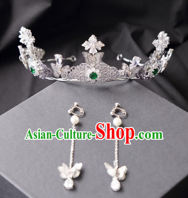 Top Grade Wedding Bride Hair Accessories Princess Crystal Royal Crown and Earrings for Women