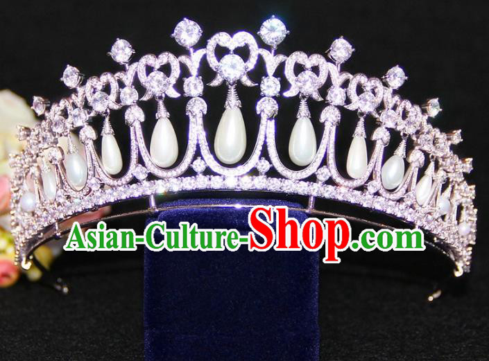 Top Grade Baroque Queen Crystal Pearls Royal Crown Wedding Bride Hair Accessories for Women