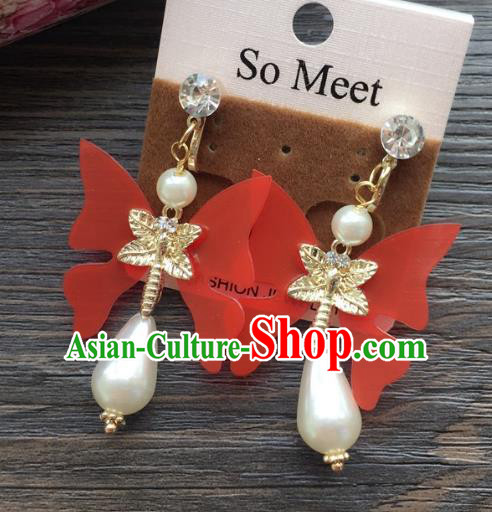 Top Grade Wedding Bride Jewelry Accessories Red Butterfly Pearl Earrings for Women