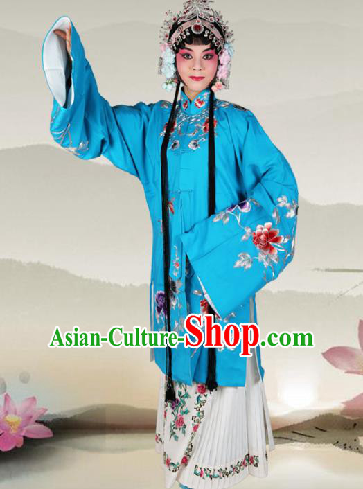 Professional Chinese Beijing Opera Costumes Ancient Peking Opera Actress Embroidered Peony Blue Clothing for Adults