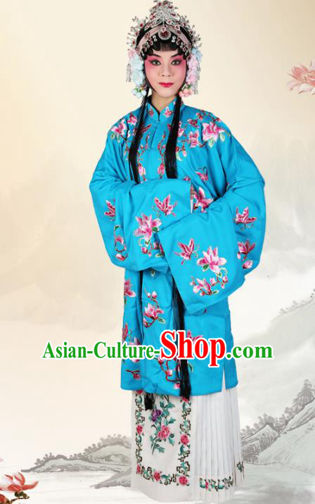 Professional Chinese Beijing Opera Costumes Ancient Peking Opera Actress Embroidered Mangnolia Blue Clothing for Adults