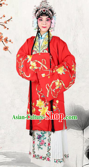 Professional Chinese Beijing Opera Costumes Ancient Huangmei Opera Actress Embroidered Red Clothing for Adults