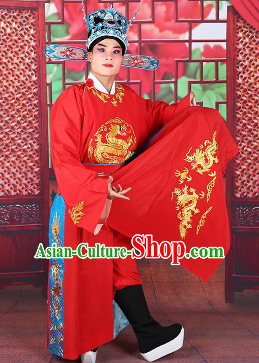 Professional Chinese Beijing Opera Costumes Peking Opera Niche Red Robe and Hat for Adults