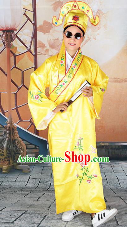 Professional Chinese Beijing Opera Costumes Peking Opera Gifted Scholar Yellow Robe and Hat for Adults