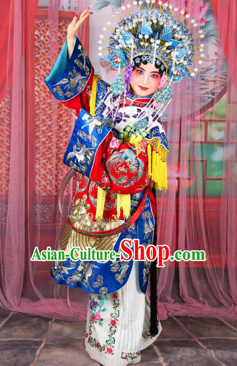 Professional Chinese Beijing Opera Imperial Consort Red Costumes and Phoenix Coronet for Adults