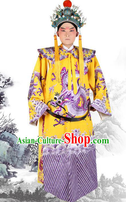 Professional Chinese Beijing Opera Costumes Peking Opera Emperor Yellow Dragon Robe for Adults