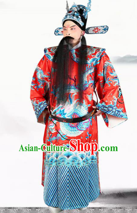 Professional Chinese Beijing Opera Costume Peking Opera Minister Red Gwanbok Robe and Hat for Adults