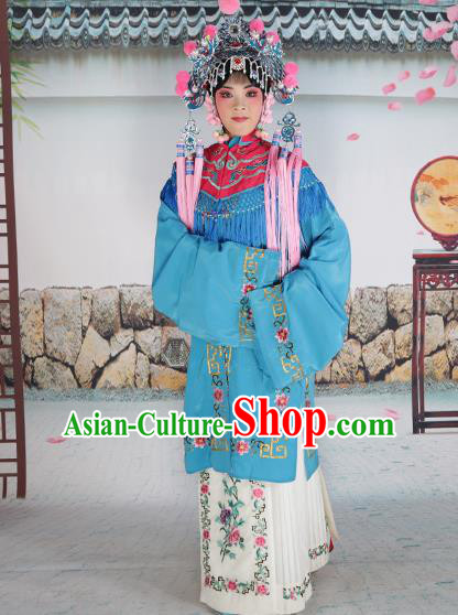 Professional Chinese Beijing Opera Diva Embroidered Costumes Rosy Shawl Clothing and Headwear for Adults