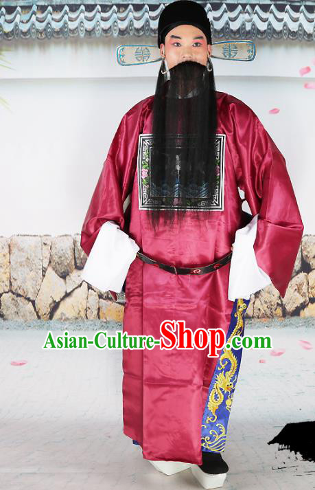 Professional Chinese Beijing Opera Costume Peking Opera Magistrate Red Gwanbok Robe and Hat for Adults