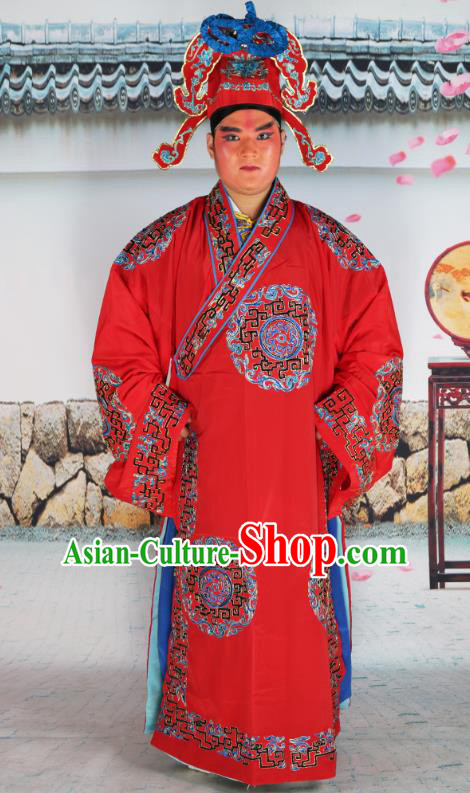 Professional Chinese Peking Opera Niche Costume Scholar Red Robe and Hat for Adults