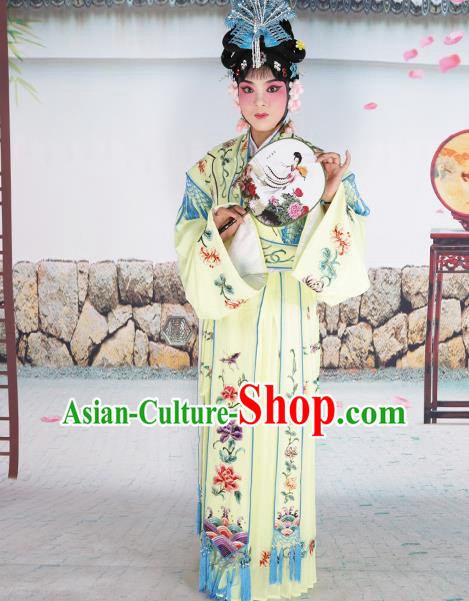 Professional Chinese Beijing Opera Diva Embroidered Costumes Palace Princess Yellow Dress for Adults