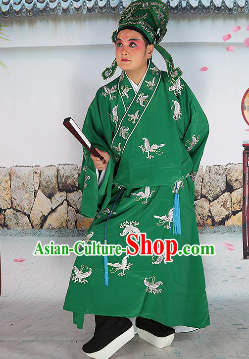 Professional Chinese Peking Opera Costume Traditional Peking Opera Niche Butterfly Green Robe and Hat for Adults
