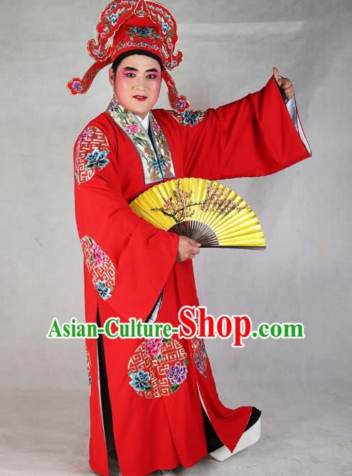 Professional Chinese Peking Opera Costume Traditional Peking Opera Niche Red Robe and Hat for Adults