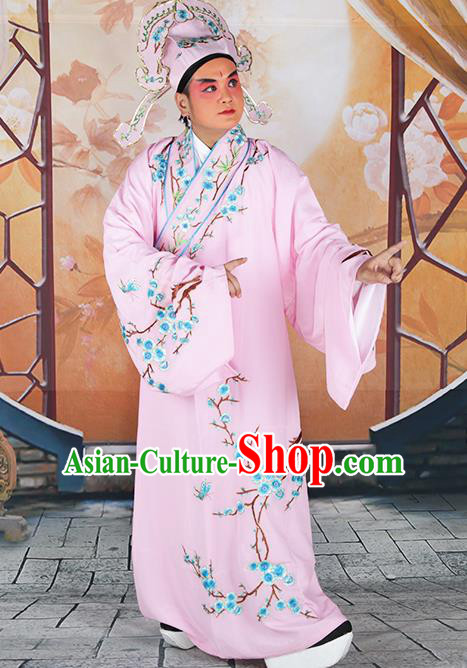 Professional Chinese Peking Opera Niche Costume Traditional Peking Opera Plum Blossom Pink Robe and Hat for Adults