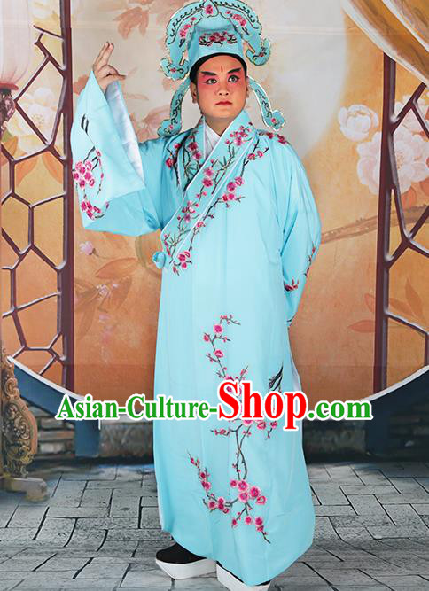 Professional Chinese Peking Opera Niche Costume Traditional Peking Opera Plum Blossom Light Blue Robe and Hat for Adults