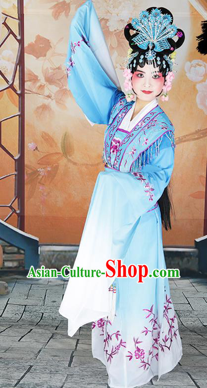 Professional Chinese Beijing Opera Diva Embroidered Costumes Peking Opera Fairy Blue Dress for Adults